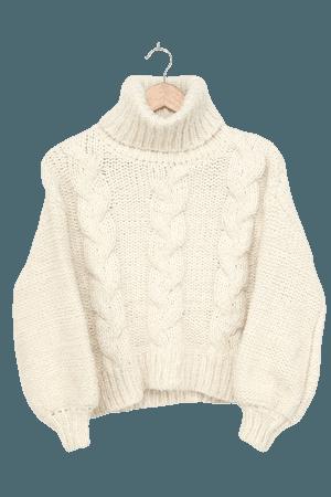 Sage the Label Amanda - Cream Fuzzy Sweater - Cutout Sweater - Lulus