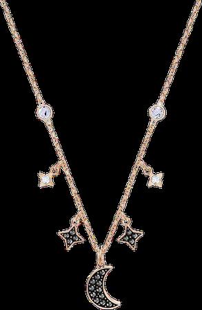 SWAROVSKI Women's Symbolic Rose-gold Plated Moon Necklace, Black Crystal