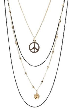 Mixed Medal Layered Peace Sign Necklace