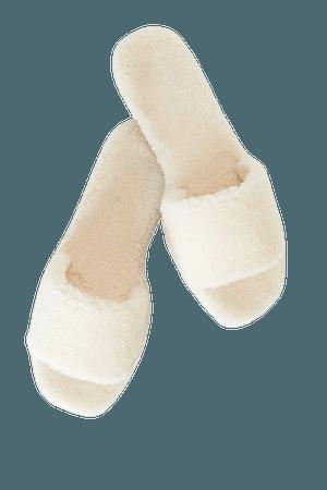 Cute Ivory Slippers - Faux Fur Slippers - Slide-On Slippers - Lulus