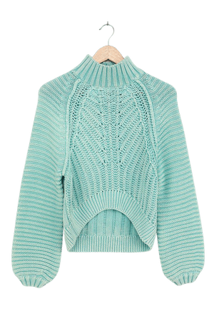 Free People Sweetheart - Light Blue Sweater - Chunky Sweater - Lulus