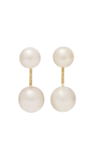 Gold 14-karat gold pearl earrings | Mateo | NET-A-PORTER