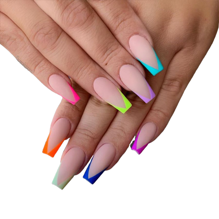 Pastel and Nude Coffin Nails
