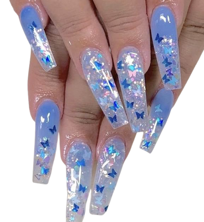 long blue butterfly nails