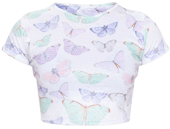 White Butterfly Print Crop T Shirt | PrettyLittleThing