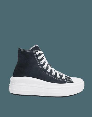 Converse Chuck Taylor Move platform hi trainers in black | ASOS