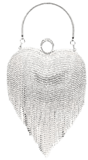 UMREN Women Luxury Heart Shape Tassel Evening Clutch Bag Rhinestones Wedding Party Purse Handbag Silver 1: Handbags: Amazon.com