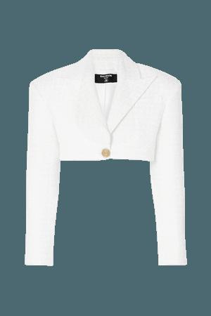 White Cropped tweed blazer | Balmain | NET-A-PORTER