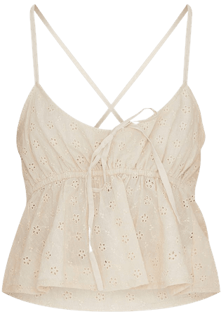 Sand Broderie Anglaise Strappy Cami Top | PrettyLittleThing USA