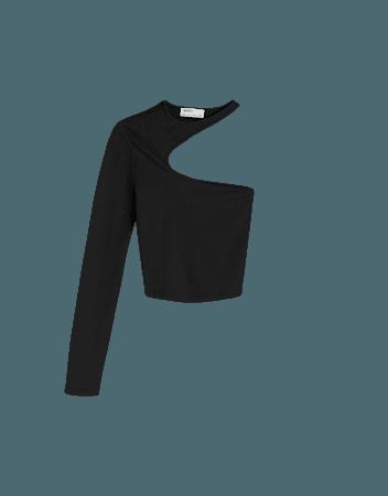 Ribbed asymmetric short sleeve T-shirt - Tees and tops - Woman   Bershka