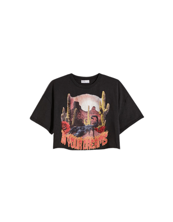 Short sleeve cropped T-shirt with print - Tees and tops - Woman   Bershka