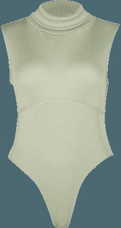 Petite green high neck ribbed bodysuit | River Island