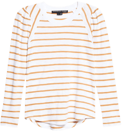 Veronica Beard Mason Stripe Puff Sleeve Baseball T-Shirt   Nordstrom