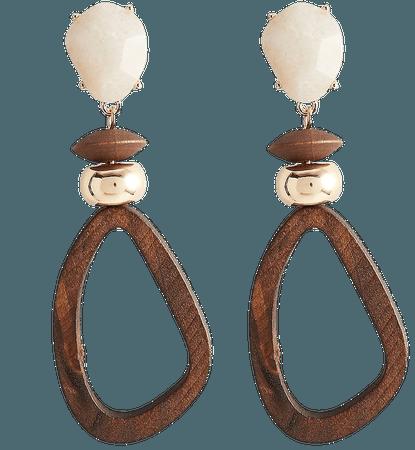 Stone & Wood Teardrop Earrings   Express