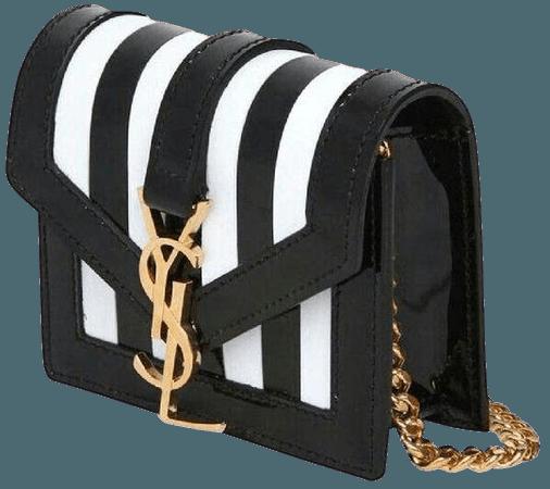 Saint Laurent Mini Ysl Monogram Striped Purse Black White Patent Leather Cross Body Bag - Tradesy