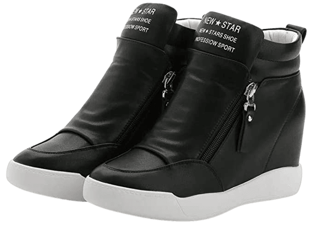 Amazon.com   LIURUIJIA Women's Hidden Wedge Platform Heel Fashion Sneakers High Top Flats Casual Walking School Shoes for Girls Boots Black 2-35(35/US5.5)   Ankle & Bootie