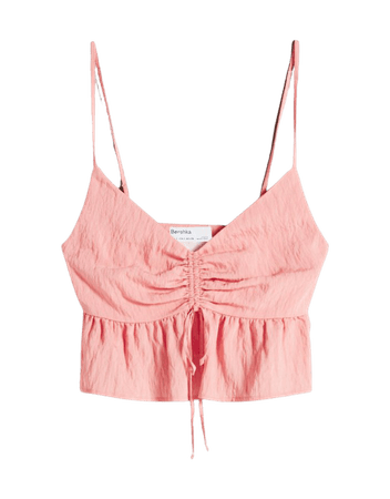 Top with straps and gathered neckline - Tees and tops - Woman | Bershka
