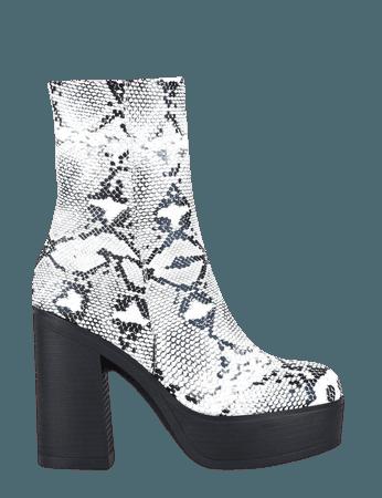 Envy White Snakeskin Heeled Ankle Boots