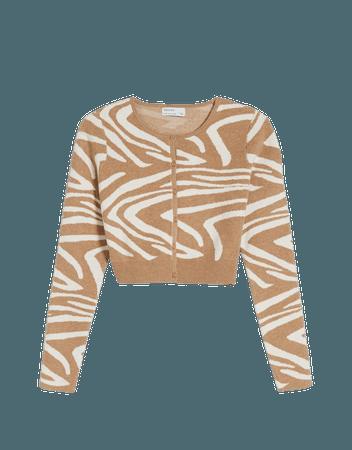 Zebra print jacket - Sweaters and cardigans - Woman | Bershka