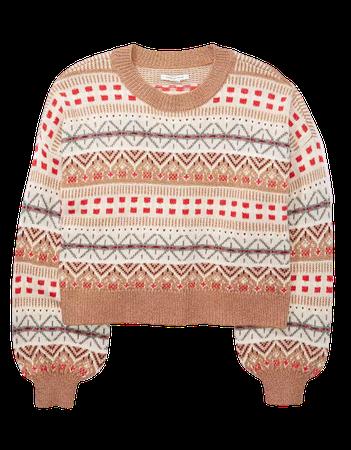 AE Cropped Fairisle Crew Neck Sweater nude