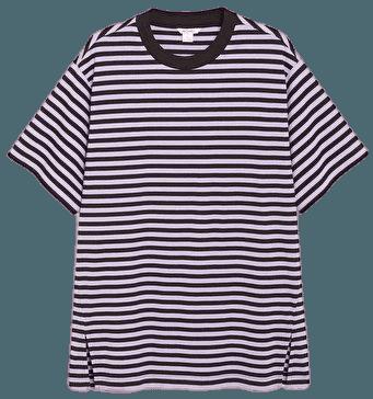 Oversized cotton tee - Purple and black stripes - Tops - Monki WW