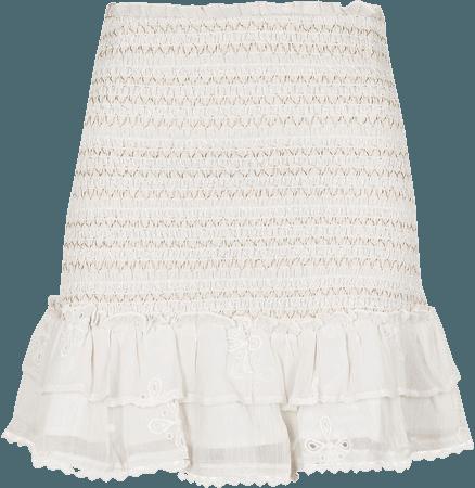 White shirred chiffon tiered mini skirt   River Island