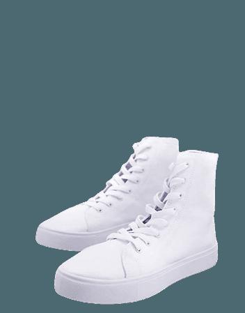 ASOS DESIGN Daz canvas high top sneakers in white | ASOS