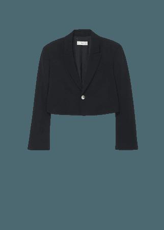 Cropped blazer with button - Women   Mango USA