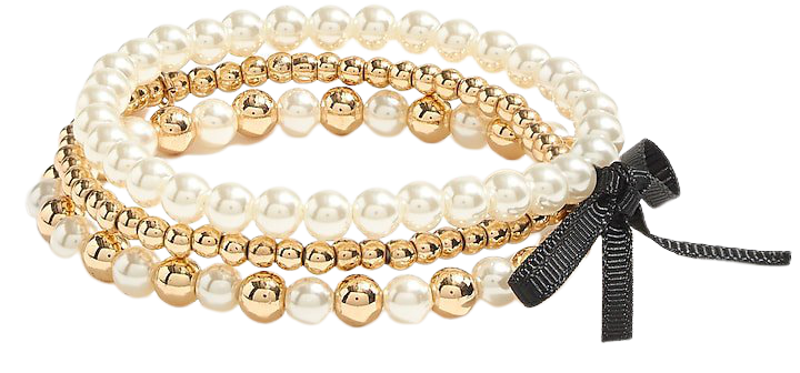 J.Crew Factory: Mixed Gold Beaded Bracelets Set-of-three For Women