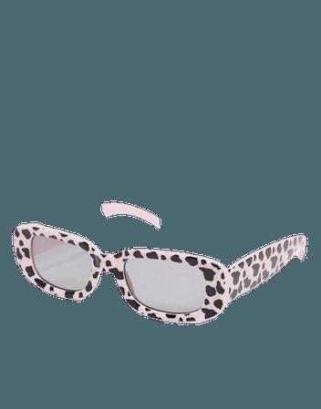 ASOS DESIGN cow print square sunglasses in pink   ASOS