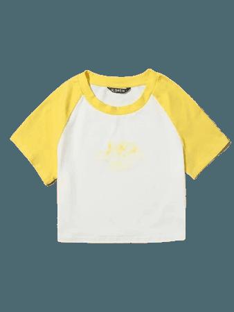 Letter and Angel Print Raglan Sleeve Tee   SHEIN USA white yellow