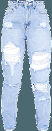 Plt Light Bleach Wash Distressed Mom Jeans   PrettyLittleThing