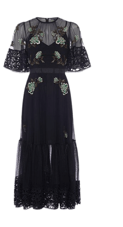 Ambre Embroidered Midi Dress | New Arrivals | French Connection Usa