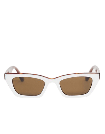 ASOS DESIGN square cat eye sunglasses with brow detail in white | ASOS