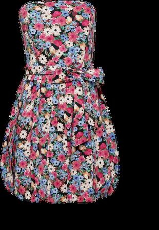 Red 80's Floral Print Poplin Puffball Mini Dress   Miss Selfridge