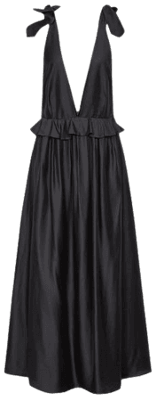 Laura Black Silk Blend Midi Dress – REISS