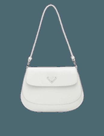 PRADA - Cleo flap-front brushed leather shoulder bag | Selfridges.com