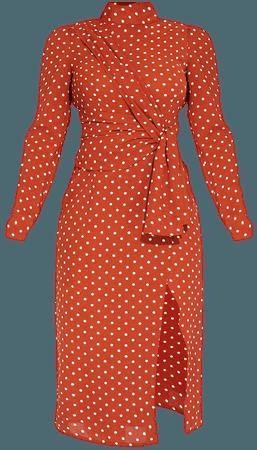 Rust Polka Dot High Neck Draped Waist Midi Dress   PrettyLittleThing USA