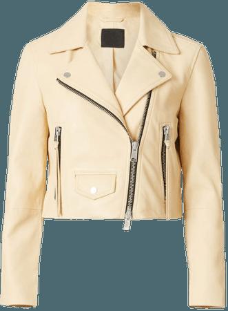 ALLSAINTS US: Womens Elora Leather Biker Jacket (sunstone_yellow)
