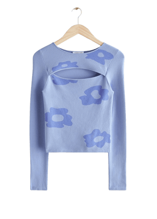Fitted Floral Motif Cut Out Top - Blue Florals - Tops & T-shirts - & Other Stories
