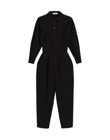 Long cotton and linen utility jumpsuit - Dresses - Woman   Bershka