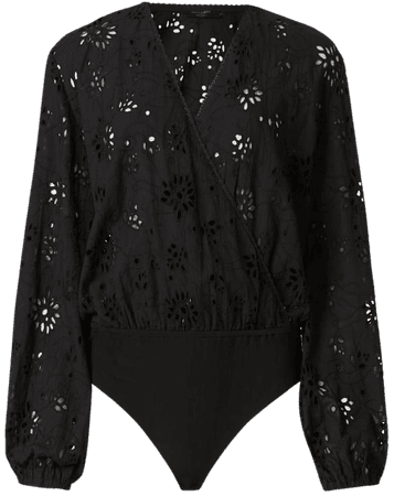 ALLSAINTS US: Womens Amara Broderie Bodysuit (black)
