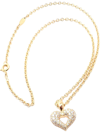 Van Cleef and Arpels Diamond Heart Yellow Gold Pendant Necklace