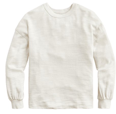 J.Crew: Puff-sleeve Sweatshirt In Vintage Cotton Terry For Women white