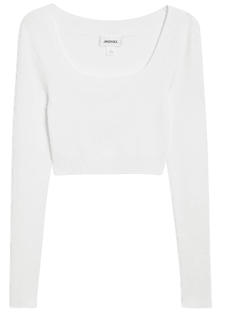 Square neck knit top - White - Knitted tops - Monki WW