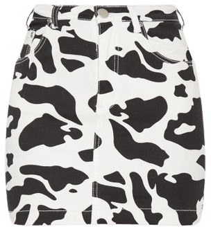 Cow Print Denim Mini Skirt   PrettyLittleThing USA