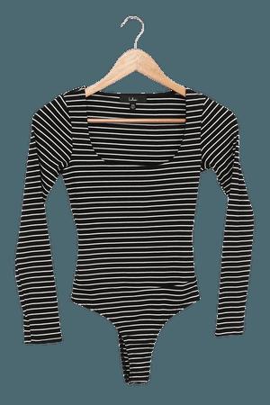 Black Striped Bodysuit - Scoop Neck Bodysuit - Long Sleeve Top - Lulus