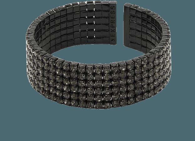 Wide Rhinestone Cuff Bracelet