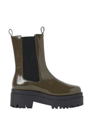 Platform Chelsea-style Boots - Green