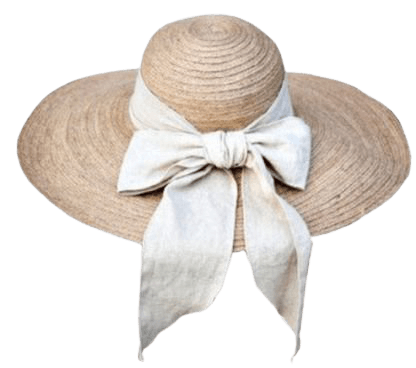 Straw hat with white ribbon